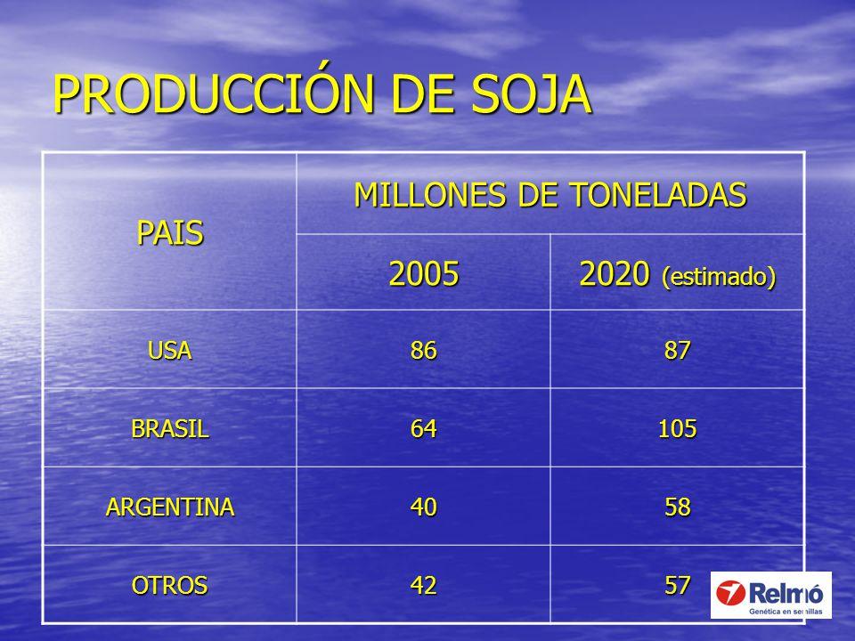 PRODUCCIÓN DE SOJA PAIS MILLONES DE TONELADAS 2005 2020 (estimado) USA