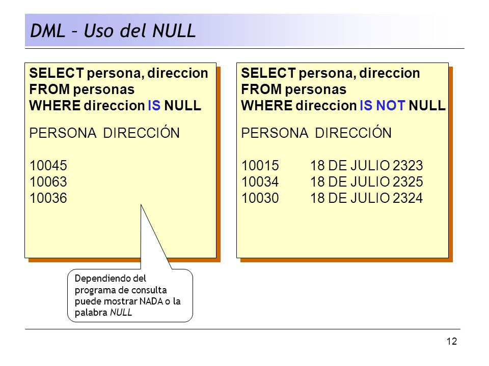 DML – Uso del NULL SELECT persona, direccion FROM personas