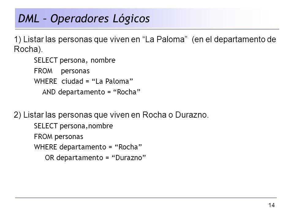 DML – Operadores Lógicos