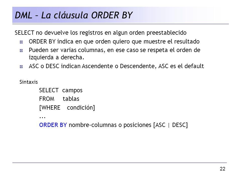 DML – La cláusula ORDER BY