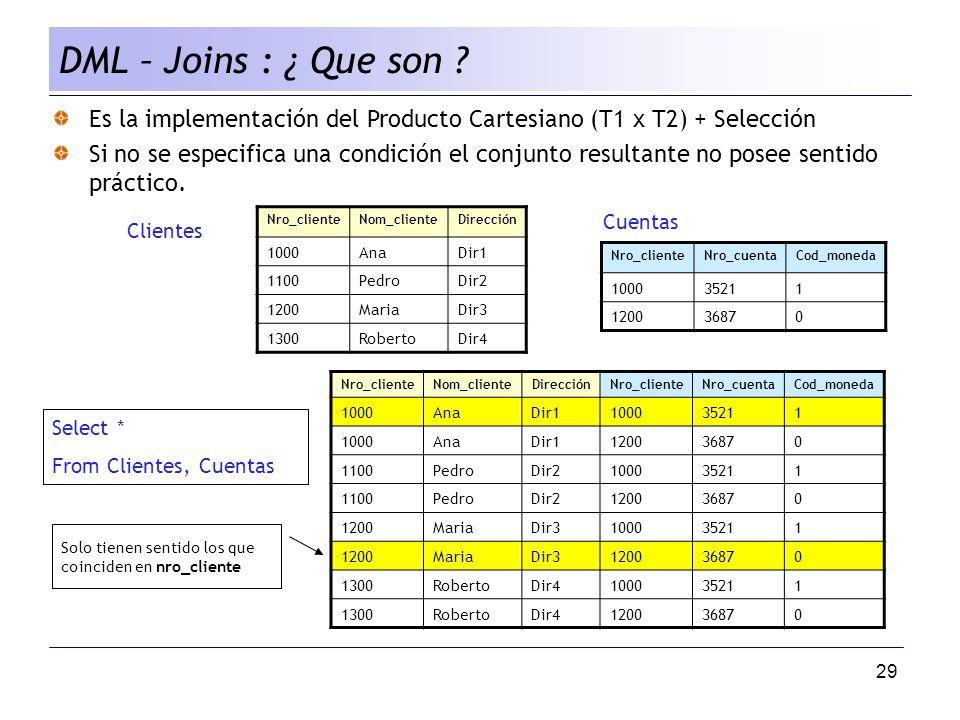 DML – Joins : ¿ Que son Es la implementación del Producto Cartesiano (T1 x T2) + Selección.