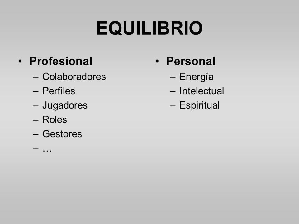 EQUILIBRIO Profesional Personal Colaboradores Perfiles Jugadores Roles
