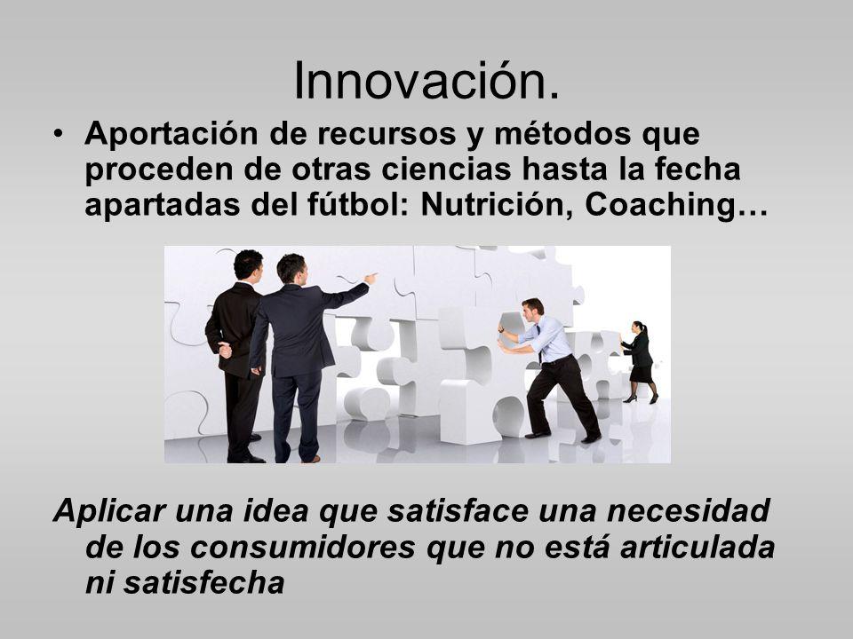 Innovación. Aportación de recursos y métodos que proceden de otras ciencias hasta la fecha apartadas del fútbol: Nutrición, Coaching…