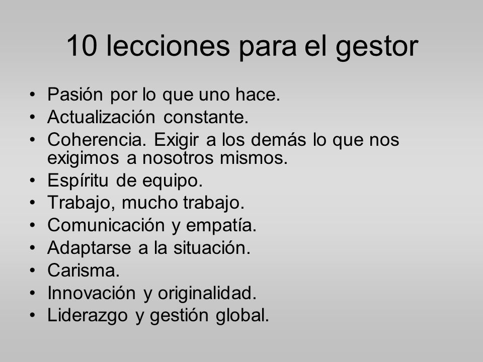 10 lecciones para el gestor