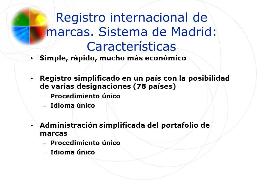 Registro internacional de marcas. Sistema de Madrid: Características