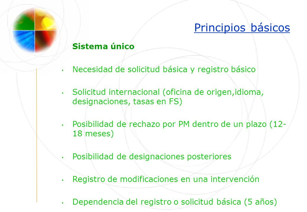 Principios básicos Sistema único