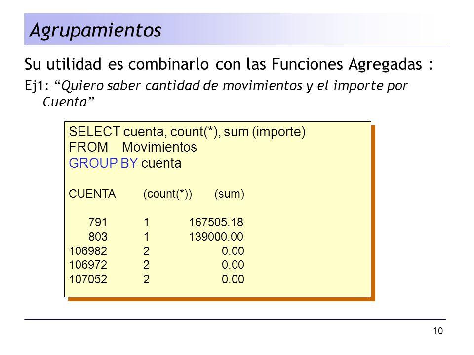 Agrupamientos Su utilidad es combinarlo con las Funciones Agregadas :