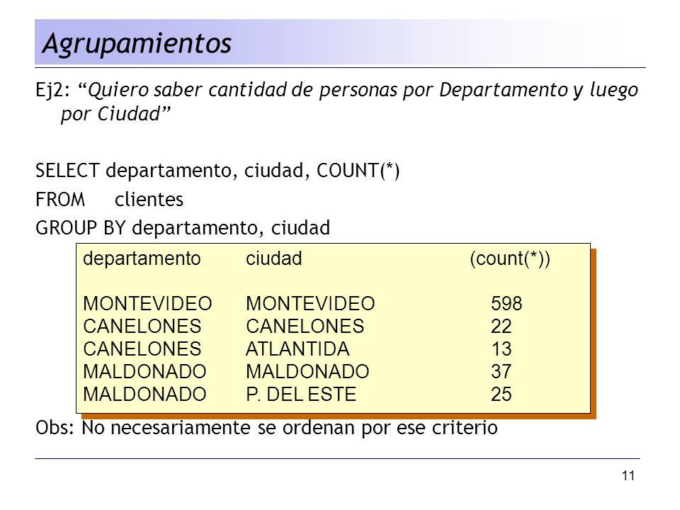 Agrupamientos Ej2: Quiero saber cantidad de personas por Departamento y luego por Ciudad SELECT departamento, ciudad, COUNT(*)