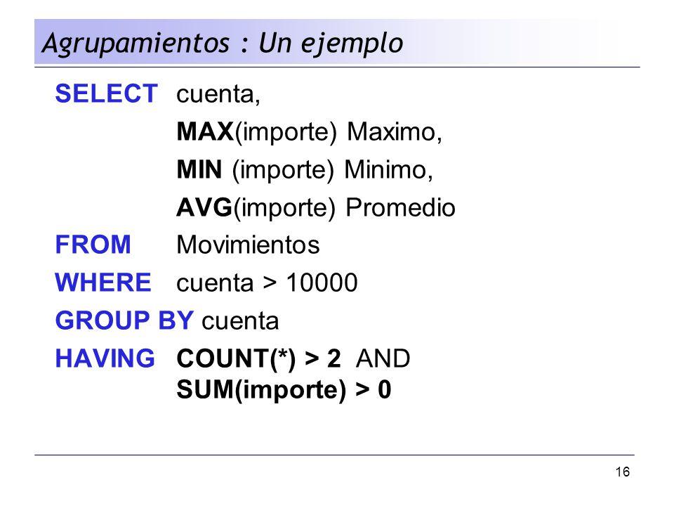 Agrupamientos : Un ejemplo