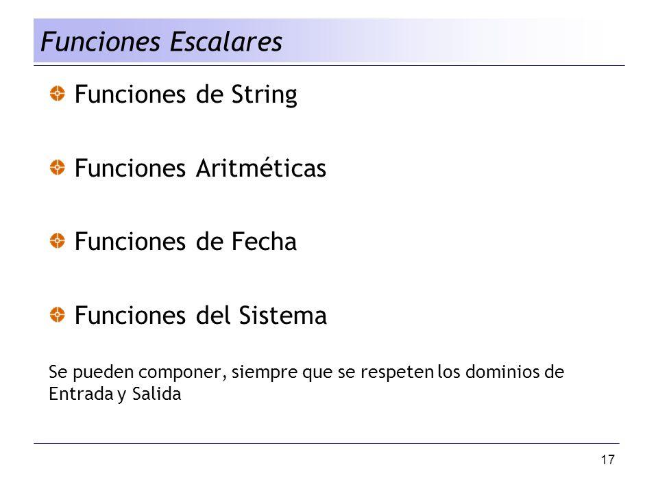 Funciones Escalares Funciones de String Funciones Aritméticas