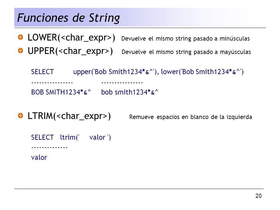 Funciones de String LOWER(<char_expr>) Devuelve el mismo string pasado a minúsculas.