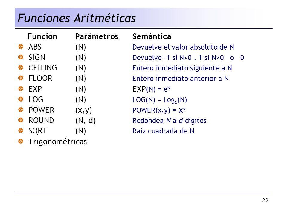 Funciones Aritméticas