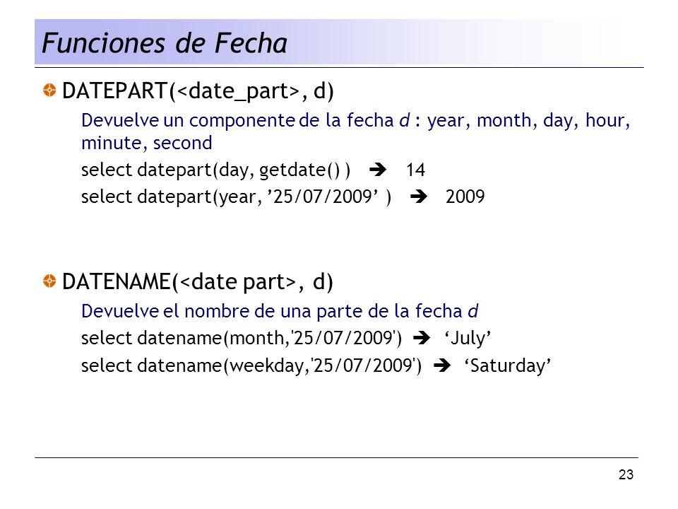 Funciones de Fecha DATEPART(<date_part>, d)