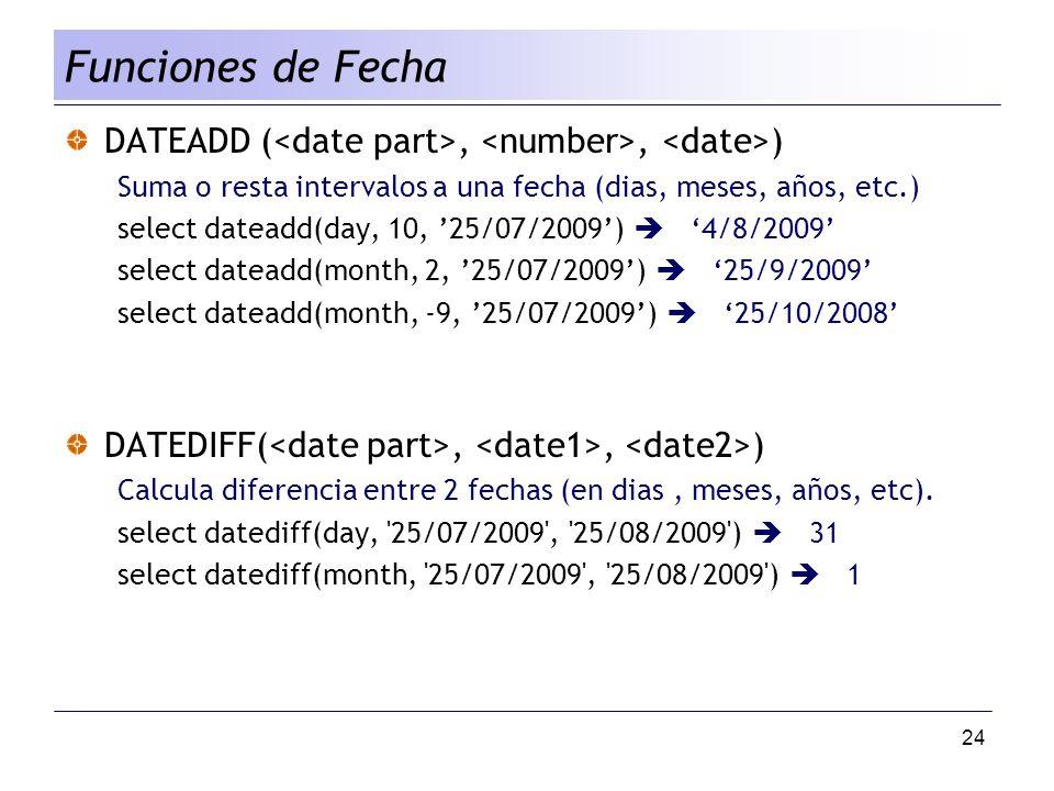 Funciones de Fecha DATEADD (<date part>, <number>, <date>) Suma o resta intervalos a una fecha (dias, meses, años, etc.)