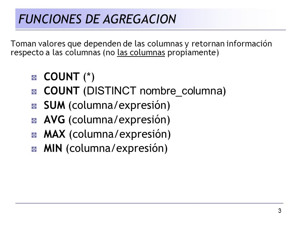 FUNCIONES DE AGREGACION