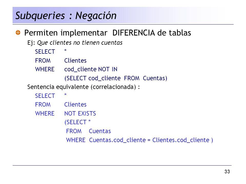 Subqueries : Negación Permiten implementar DIFERENCIA de tablas