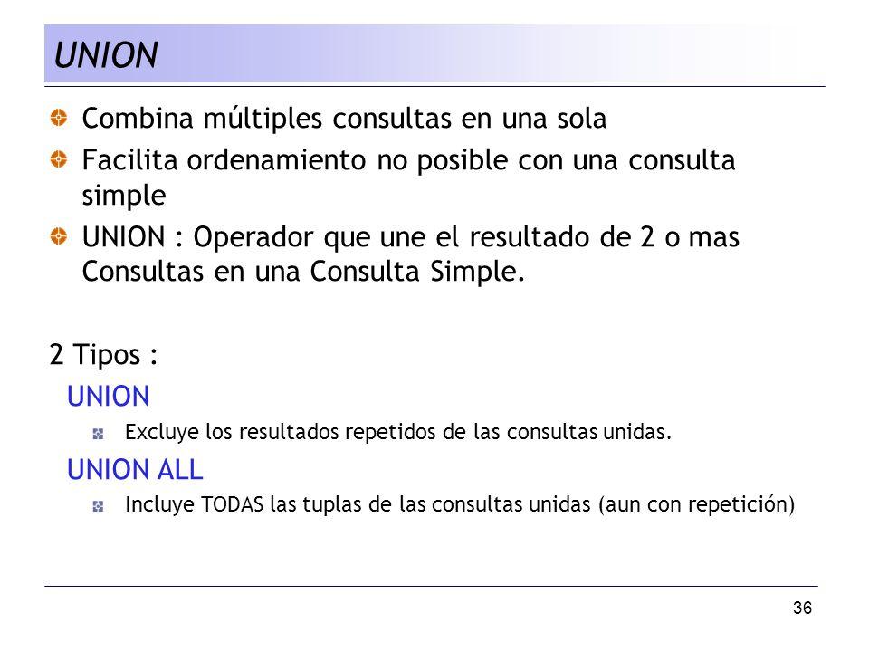 UNION Combina múltiples consultas en una sola