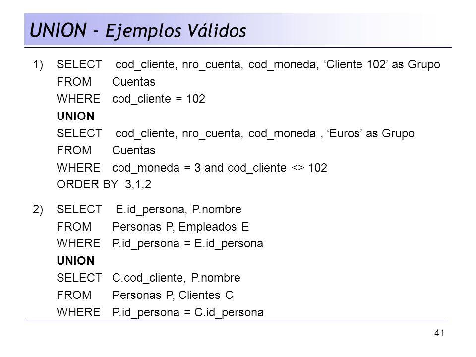 UNION - Ejemplos Válidos