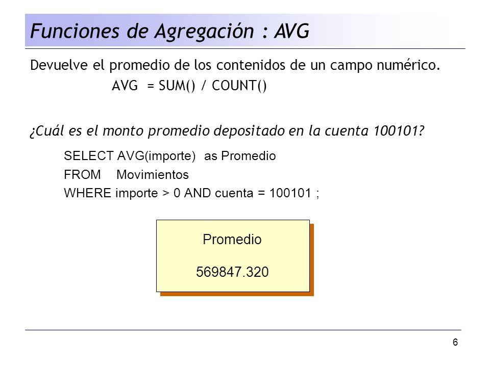 Funciones de Agregación : AVG