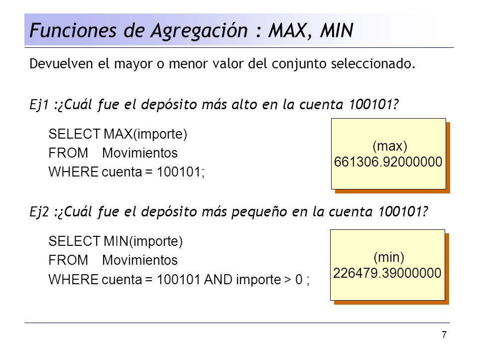 Funciones de Agregación : MAX, MIN