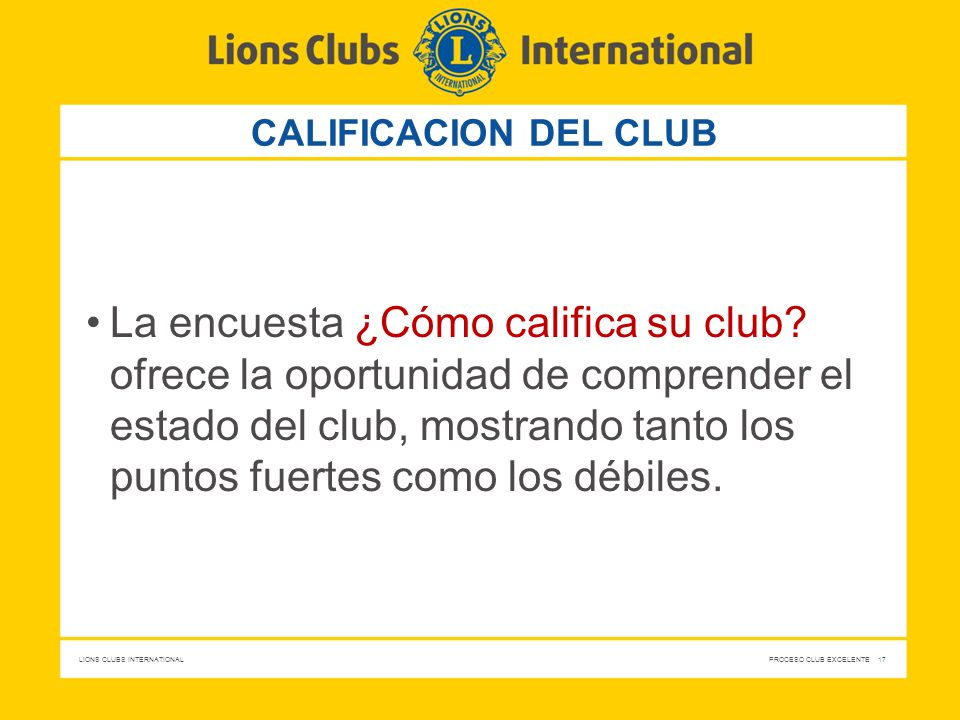 CALIFICACION DEL CLUB