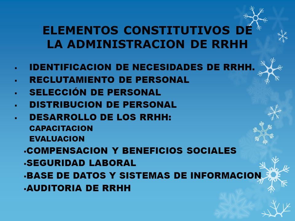 ELEMENTOS CONSTITUTIVOS DE LA ADMINISTRACION DE RRHH