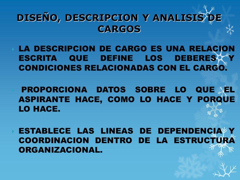 DISEÑO, DESCRIPCION Y ANALISIS DE CARGOS