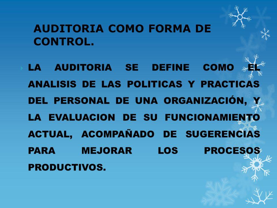AUDITORIA COMO FORMA DE CONTROL.