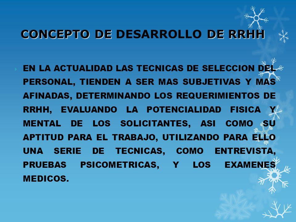CONCEPTO DE DESARROLLO DE RRHH