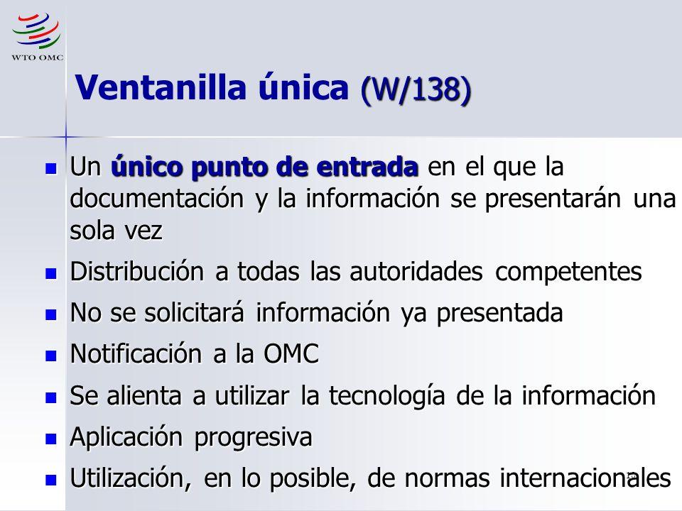 Ventanilla única (W/138) Un único punto de entrada en el que la documentación y la información se presentarán una sola vez.