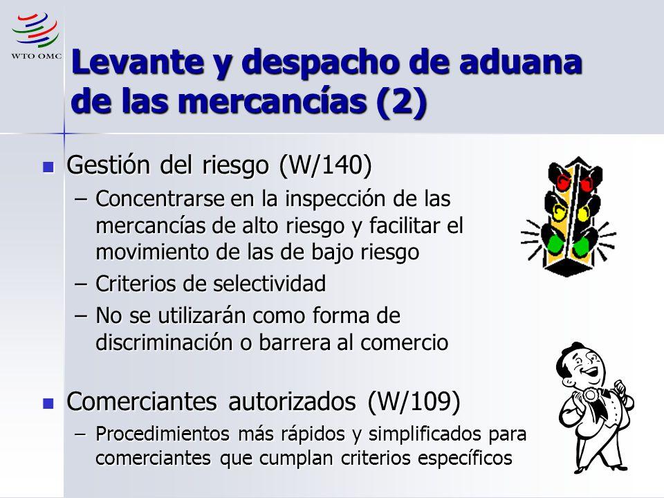 Levante y despacho de aduana de las mercancías (2)