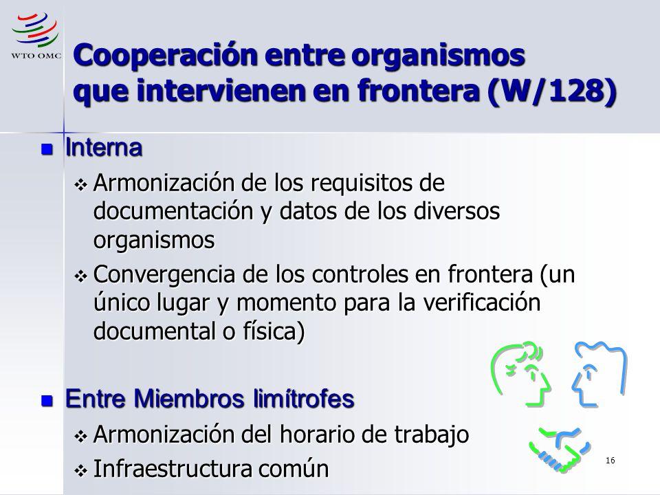 Cooperación entre organismos que intervienen en frontera (W/128)