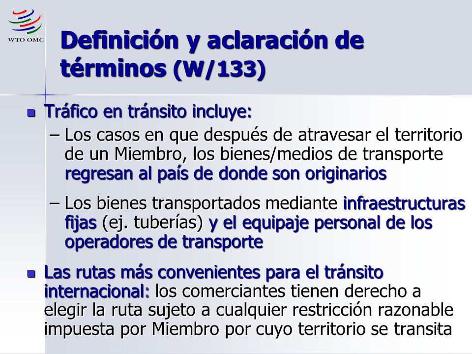 Definición y aclaración de términos (W/133)