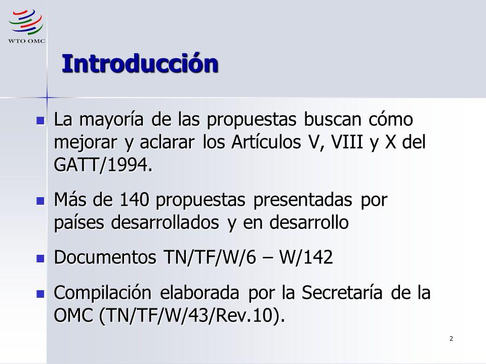 Introducción La mayoría de las propuestas buscan cómo mejorar y aclarar los Artículos V, VIII y X del GATT/1994.