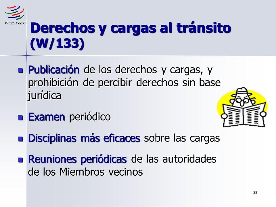 Derechos y cargas al tránsito (W/133)