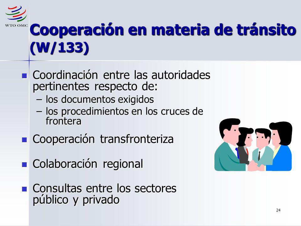 Cooperación en materia de tránsito (W/133)