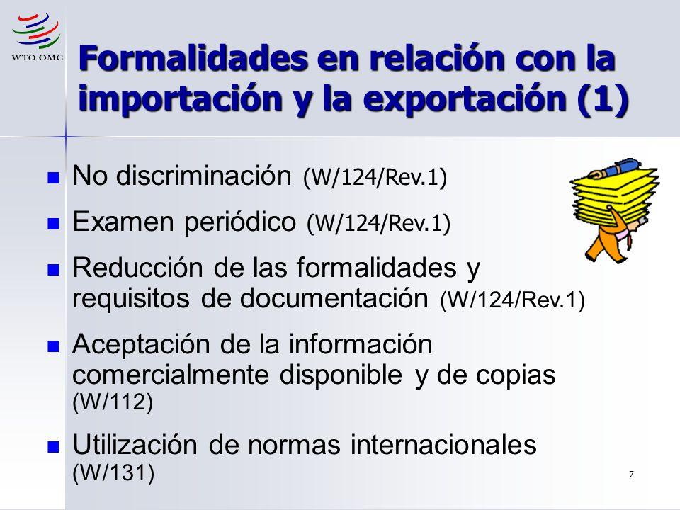 Formalidades en relación con la importación y la exportación (1)