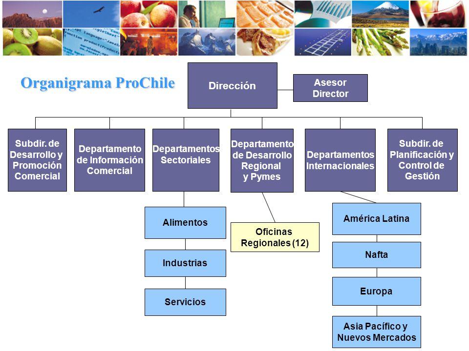 Organigrama ProChile Dirección Asesor Director Subdir. de Desarrollo y