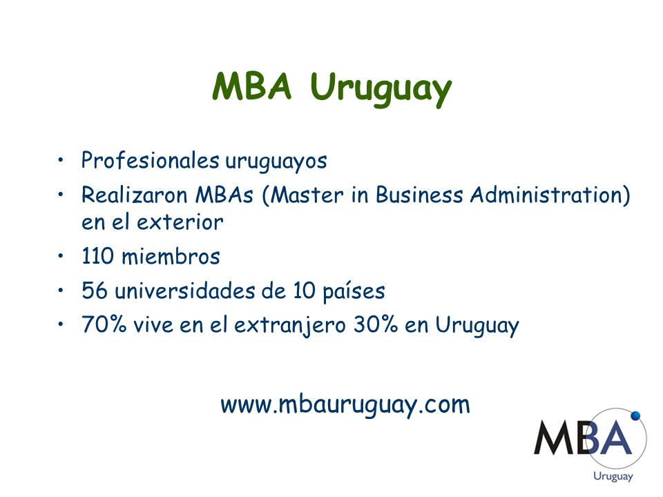 MBA Uruguay www.mbauruguay.com Profesionales uruguayos