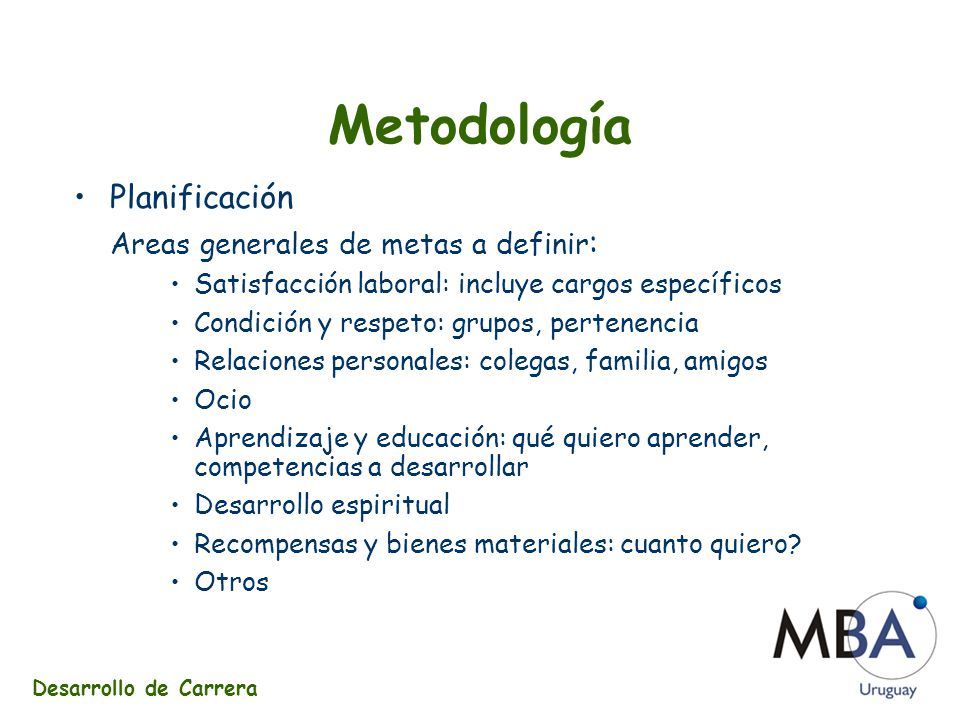 Metodología Planificación Areas generales de metas a definir: