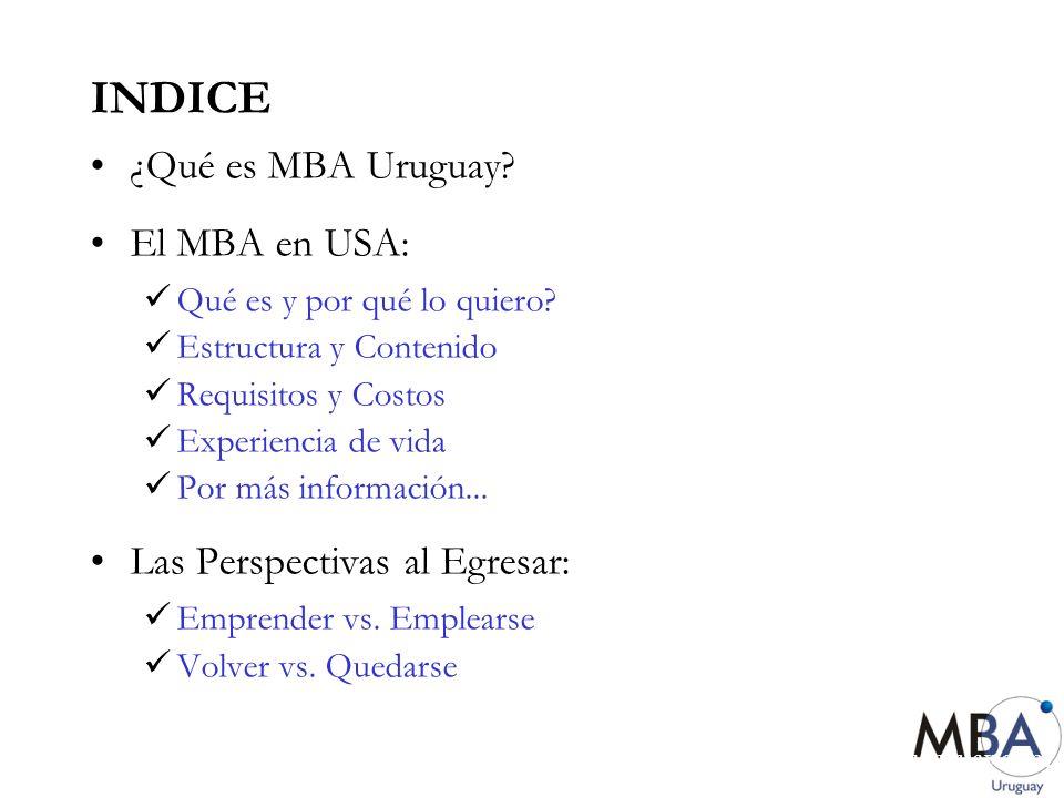 INDICE ¿Qué es MBA Uruguay El MBA en USA: