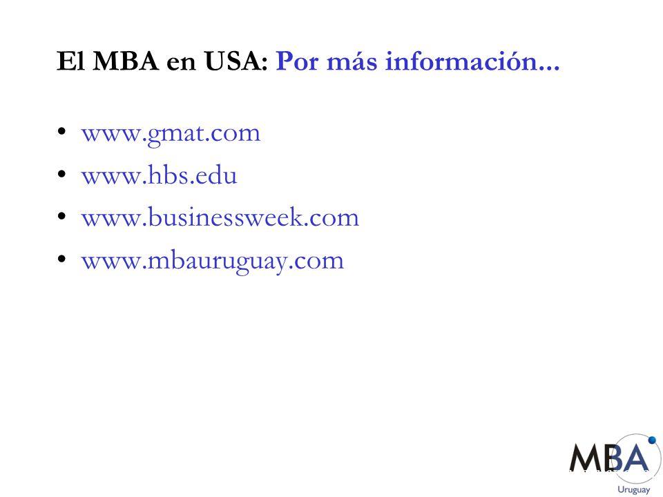 El MBA en USA: Por más información...