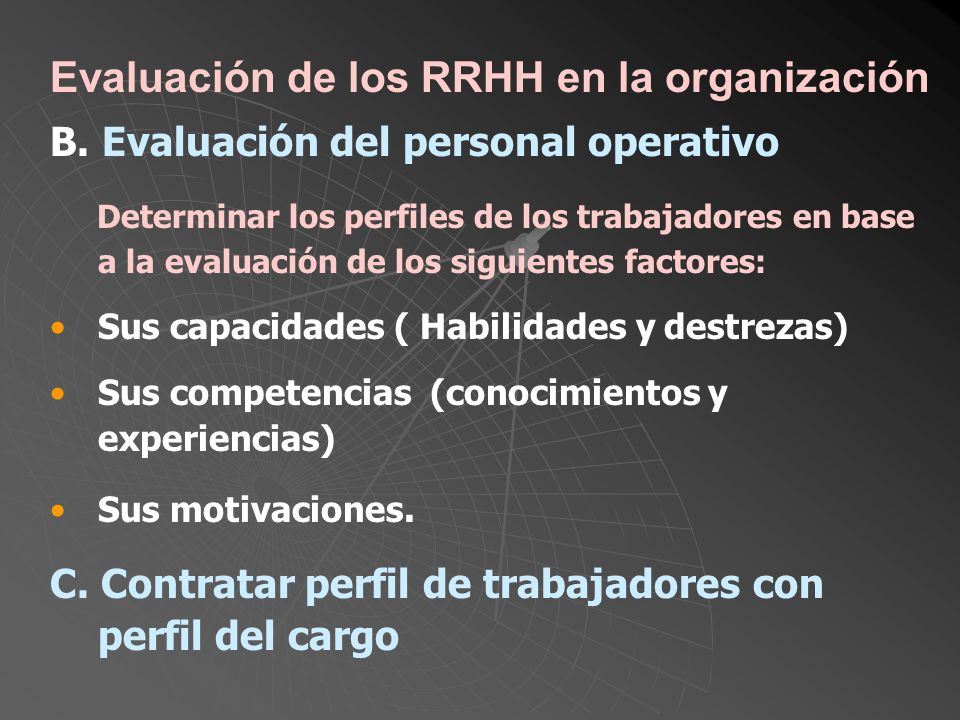 Evaluación de los RRHH en la organización