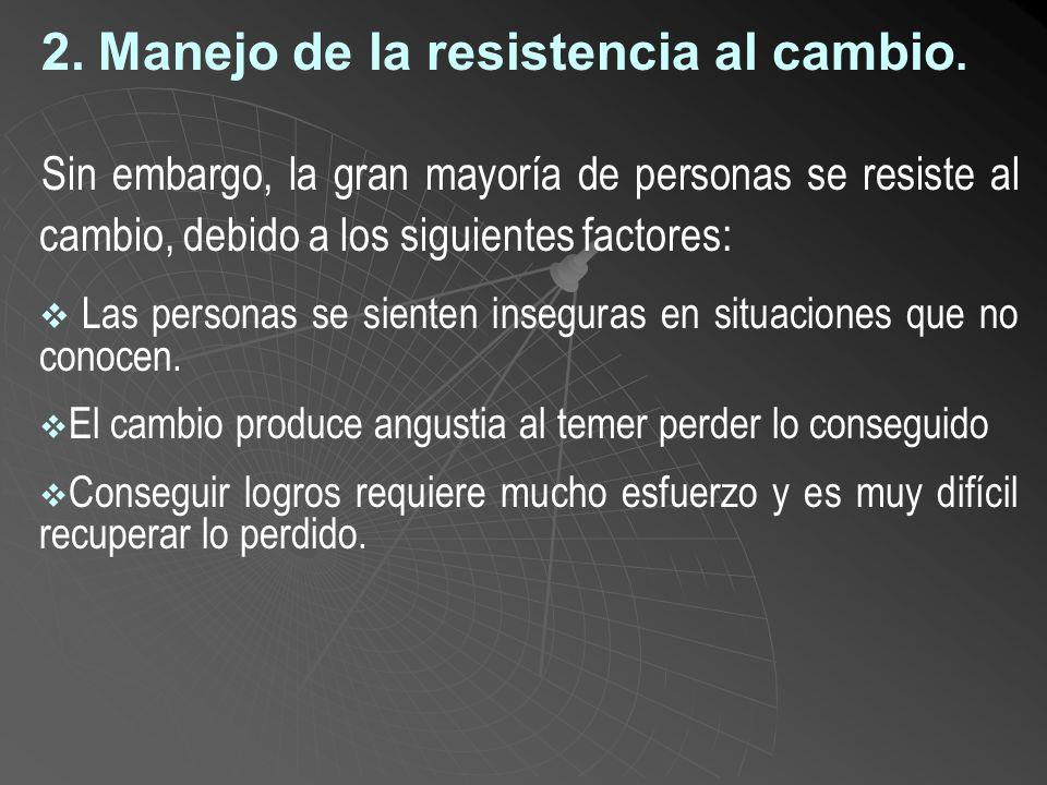 2. Manejo de la resistencia al cambio.