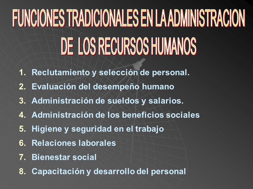 FUNCIONES TRADICIONALES EN LA ADMINISTRACION DE LOS RECURSOS HUMANOS