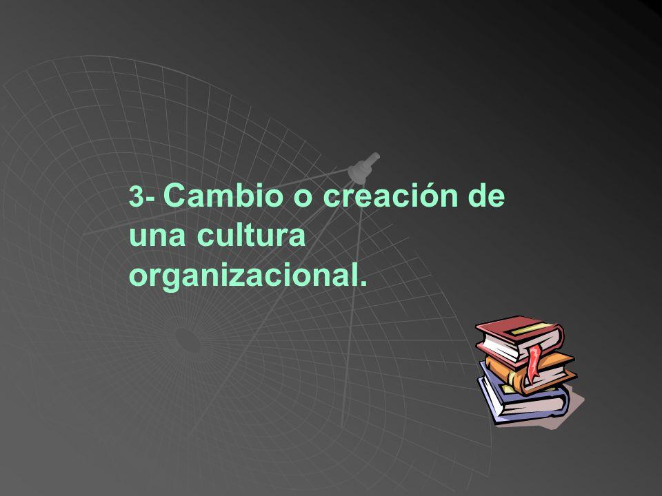 3- Cambio o creación de una cultura organizacional.
