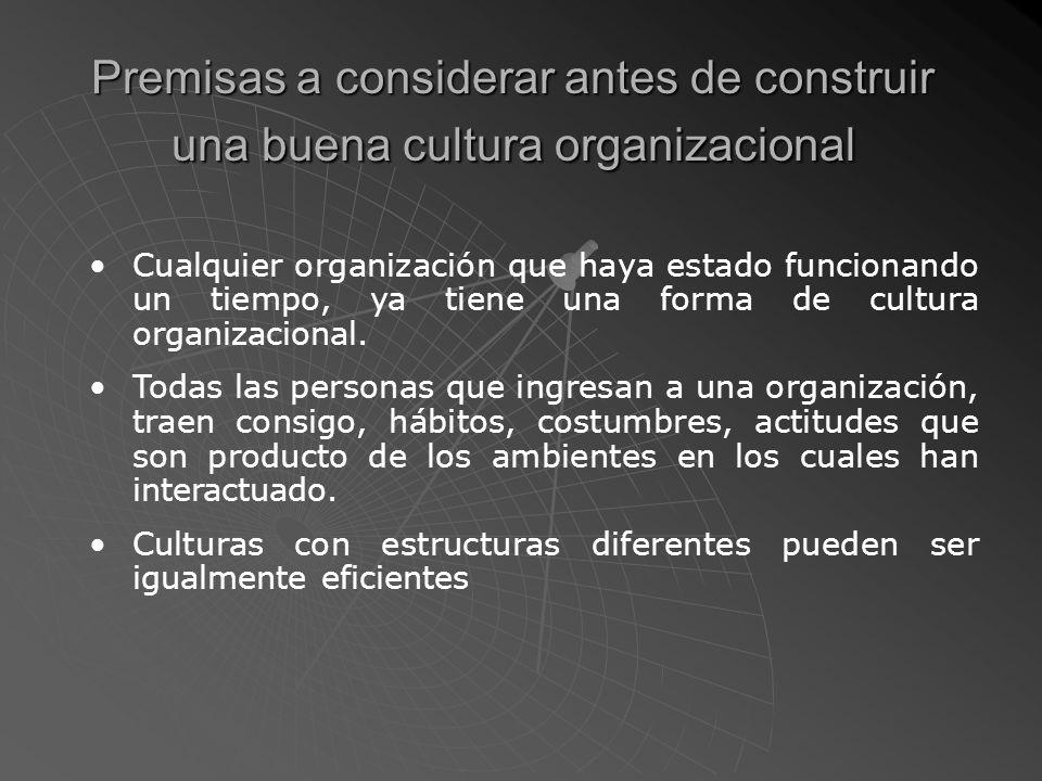 Premisas a considerar antes de construir una buena cultura organizacional