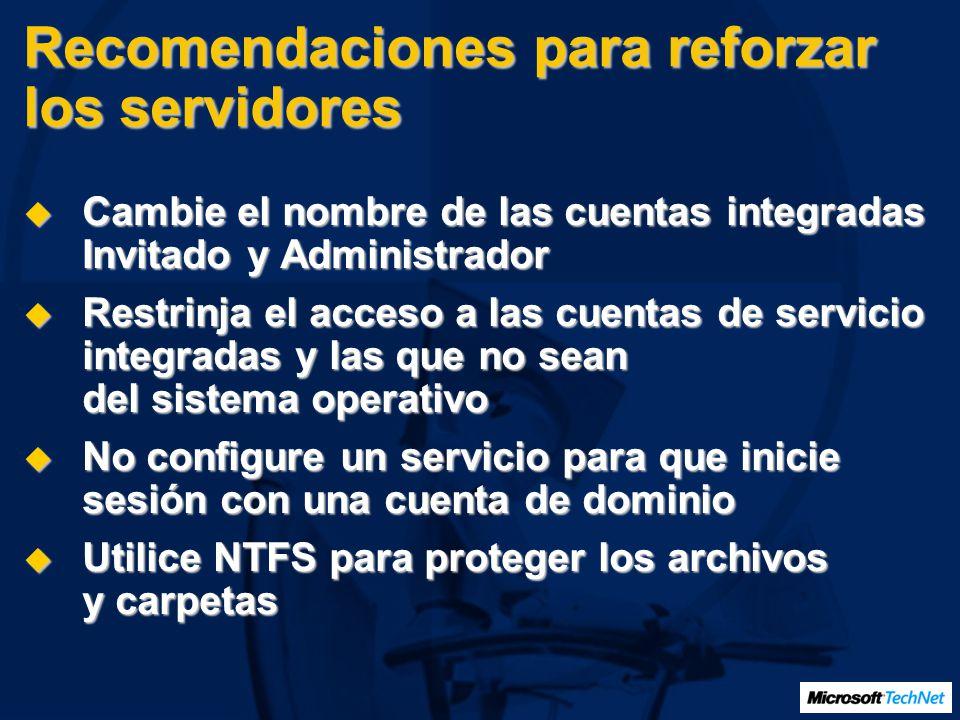 Recomendaciones para reforzar los servidores