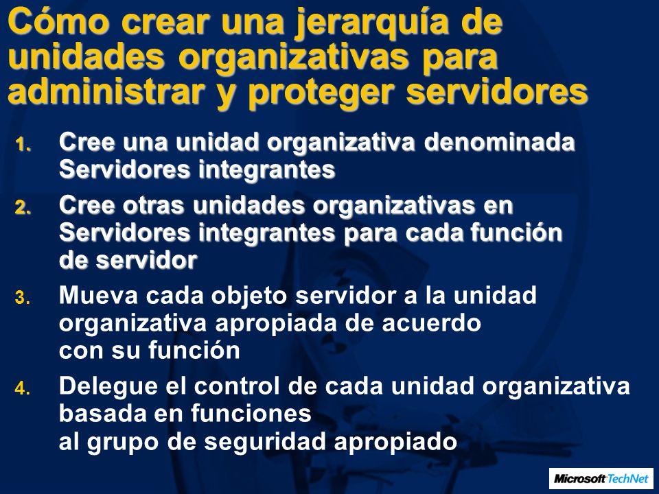 Cómo crear una jerarquía de unidades organizativas para administrar y proteger servidores
