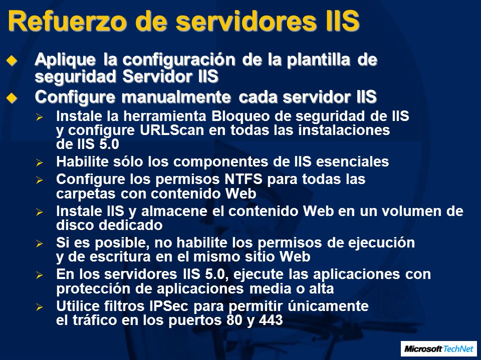Refuerzo de servidores IIS